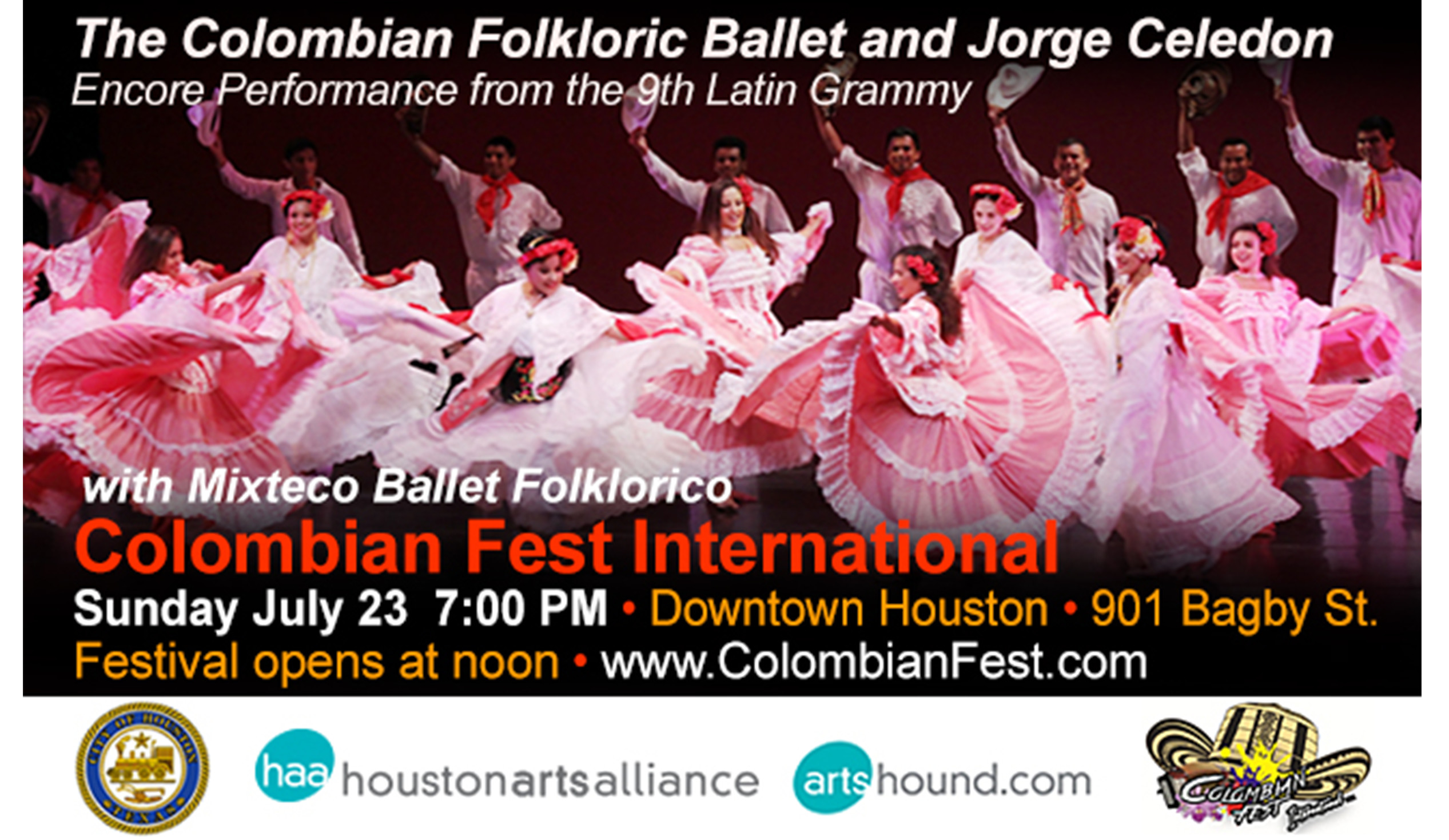 The Colombian Folkloric Ballet and Jorge Celedo. Latin Grammys. Colombian Fest International. Festival Colombiano International