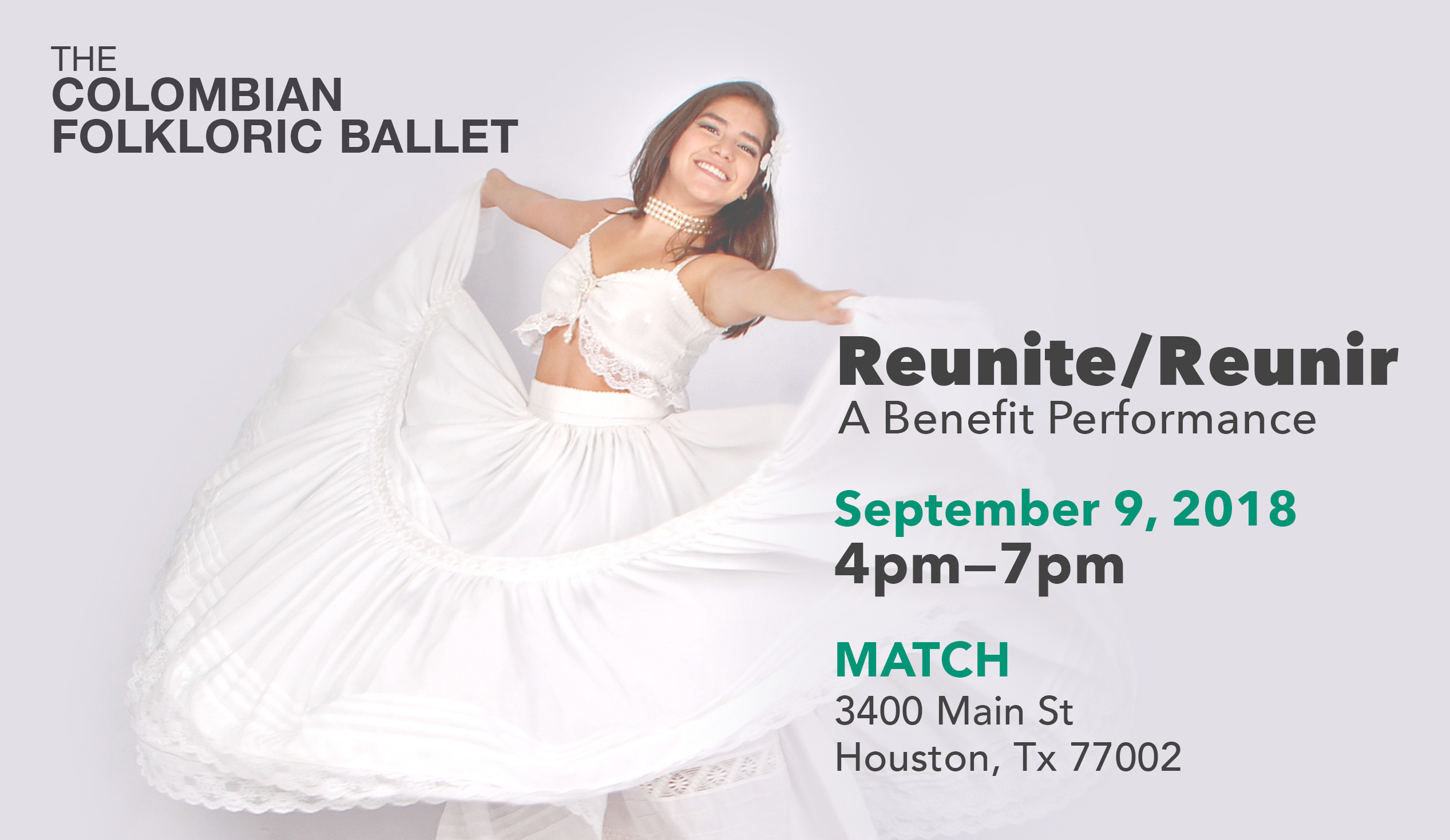 Reunite/Reunir: A Benefit Performance. September 9, 2018 4pm—7pm. MATCH 3400 Main St Houston, Tx 77002